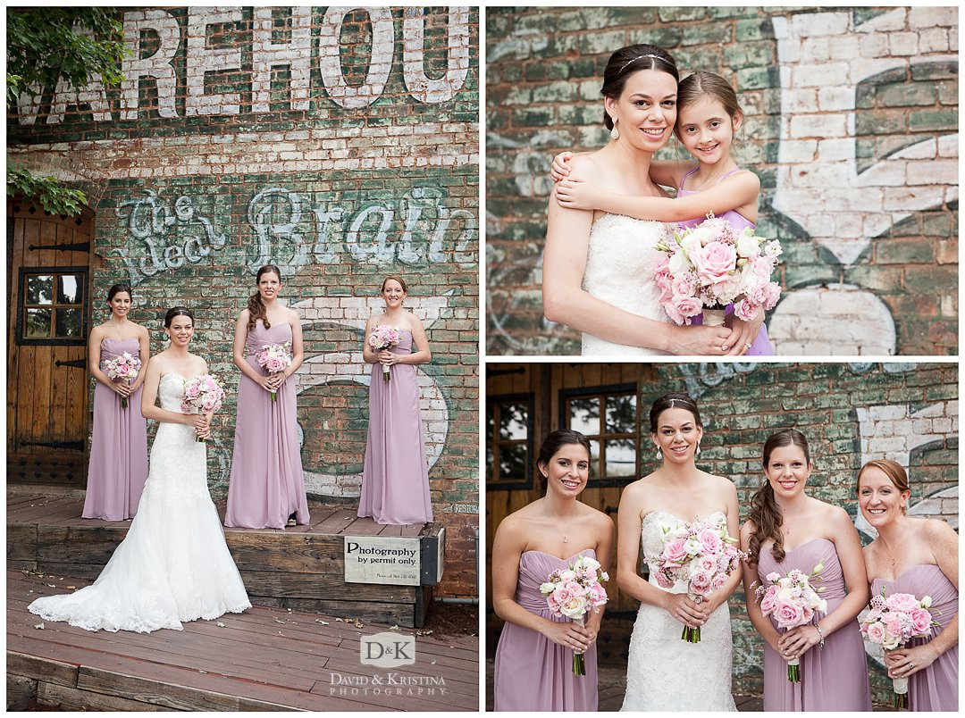Tammy and bridesmaids outside The Old Cigar Warehouse