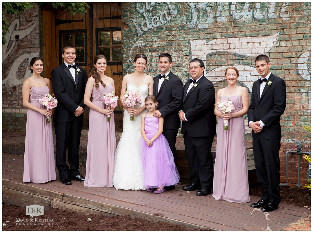 bridal party outside The Old Cigar Warehouse