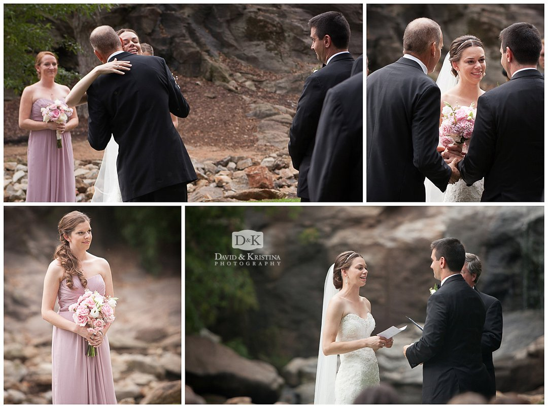 wedding ceremony at the Rock Quarry Garden