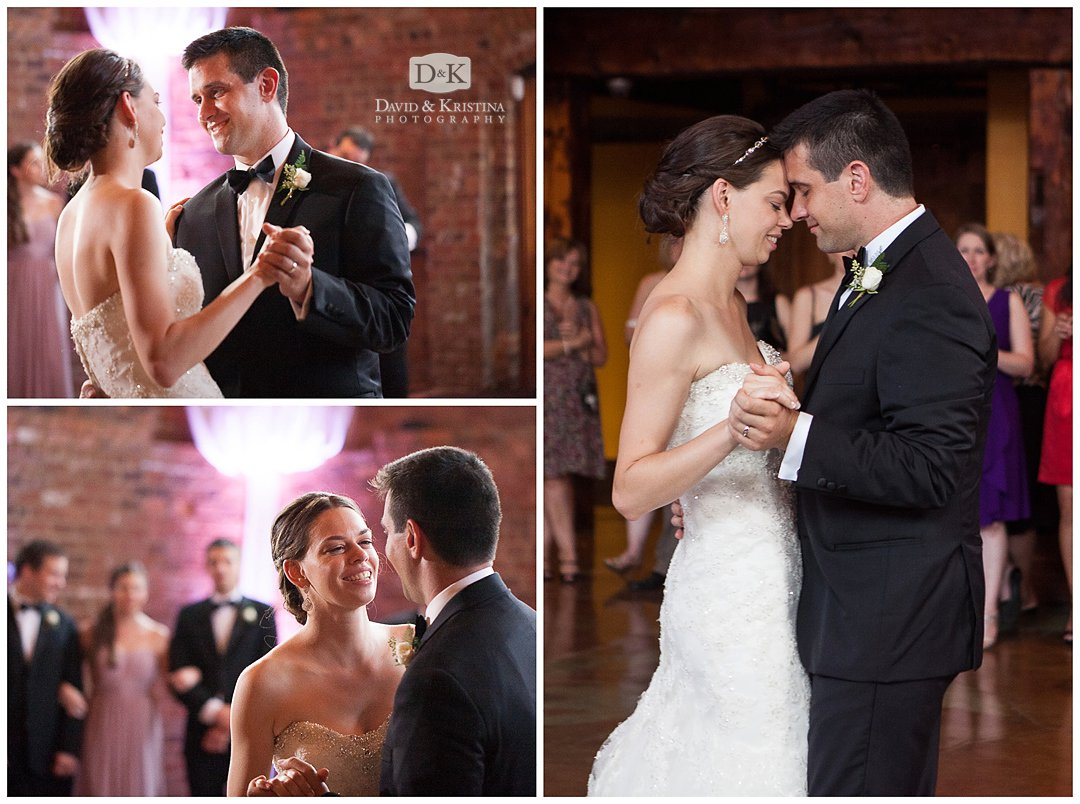Tammy and John share their first dance at The Old Cigar Warehouse