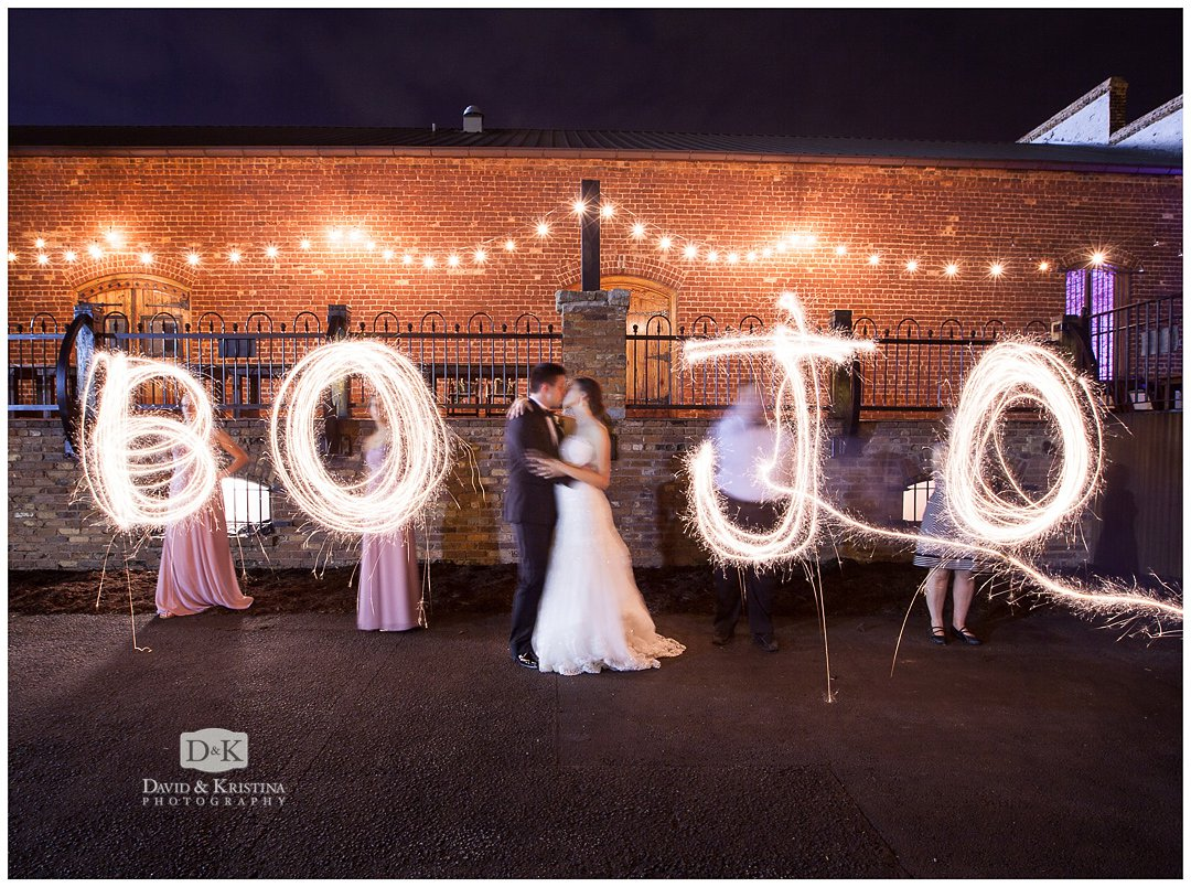 bride and groom initials in sparkler writing