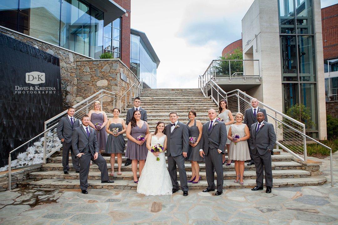 wedding party photos behind the Peace Center Greenville SC