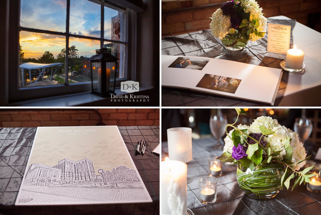 wedding details and looking out the window at TD Stange behind Peace Center