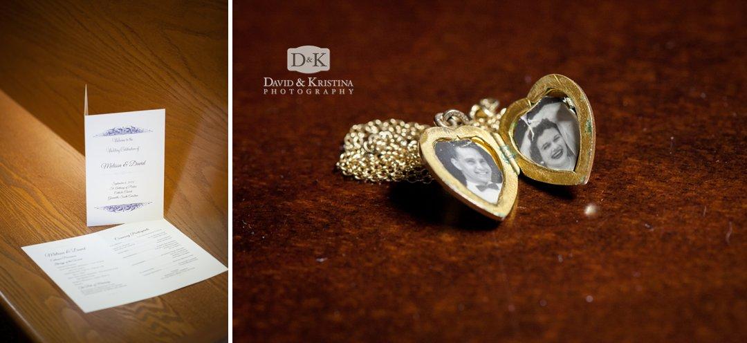 wedding program and locket