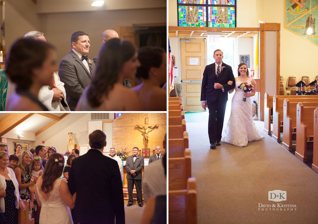 bride walks down aisle at St. Anthony of Padua