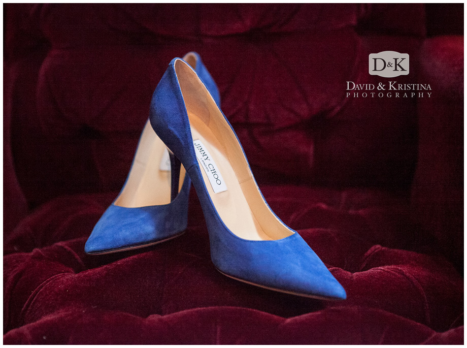 blue suede Jimmy Choo shoes for wedding