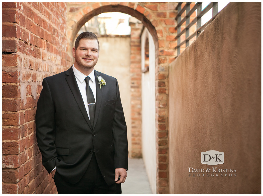 portrait of Groom in front of Old Cigar Warehouse