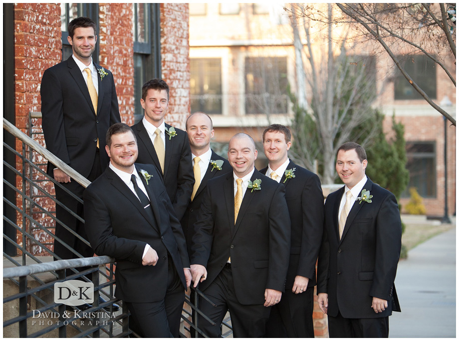 groomsmen photos on Main St at The Old Cigar Warehouse