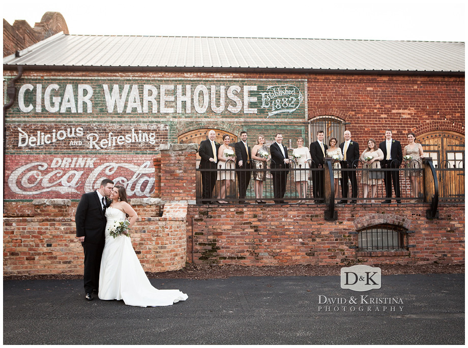 wedding party photos on the deck at Old Cigar Warehouse