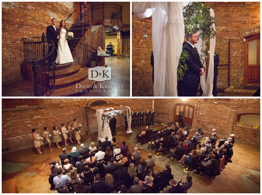 wedding ceremony at Old Cigar Warehouse