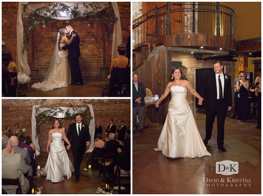 first kiss under pergola and bride and groom introduction