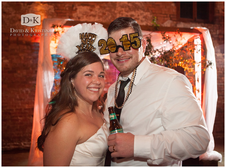 bride and groom new years eve wedding 2015 Old Cigar Warehouse