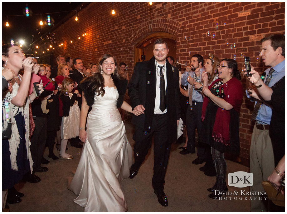 bride and groom bubble exit from wedding reception