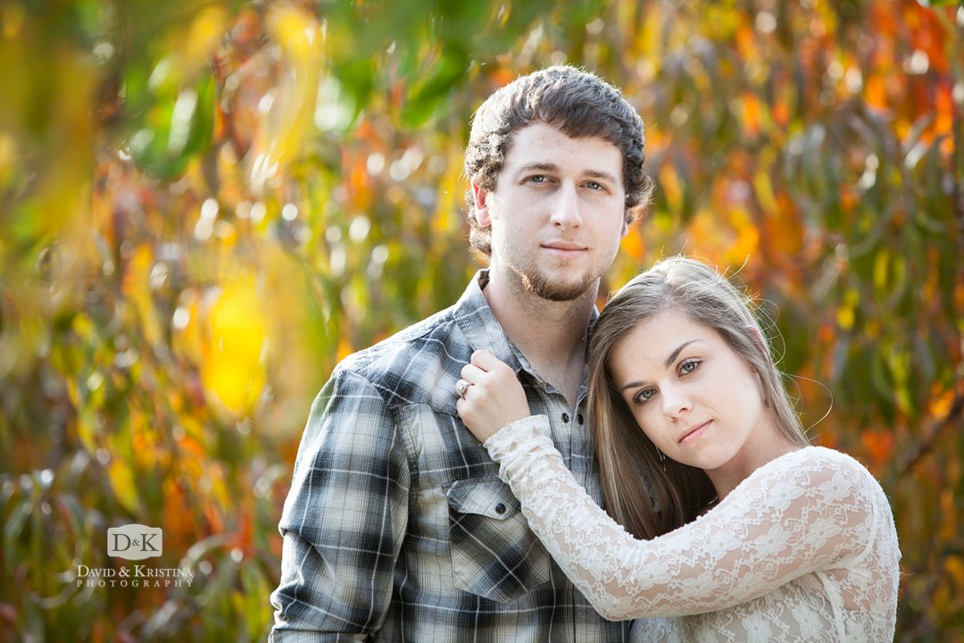 engagement photo in orchard