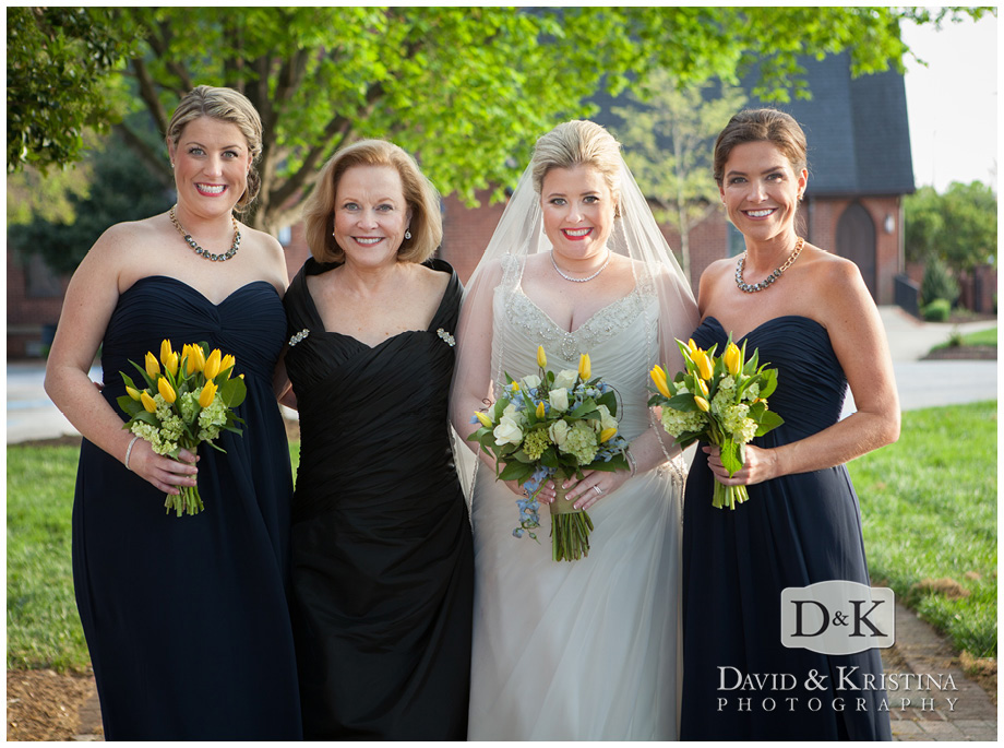 bride with mom and sisters