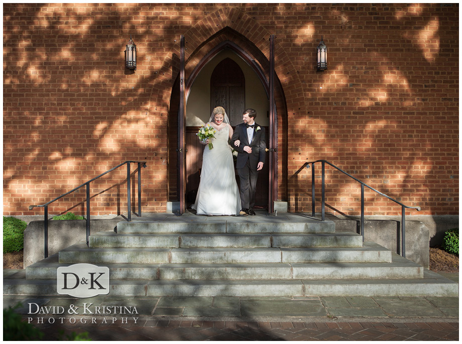bride and groom walk out front door of Christ Church Episcopal