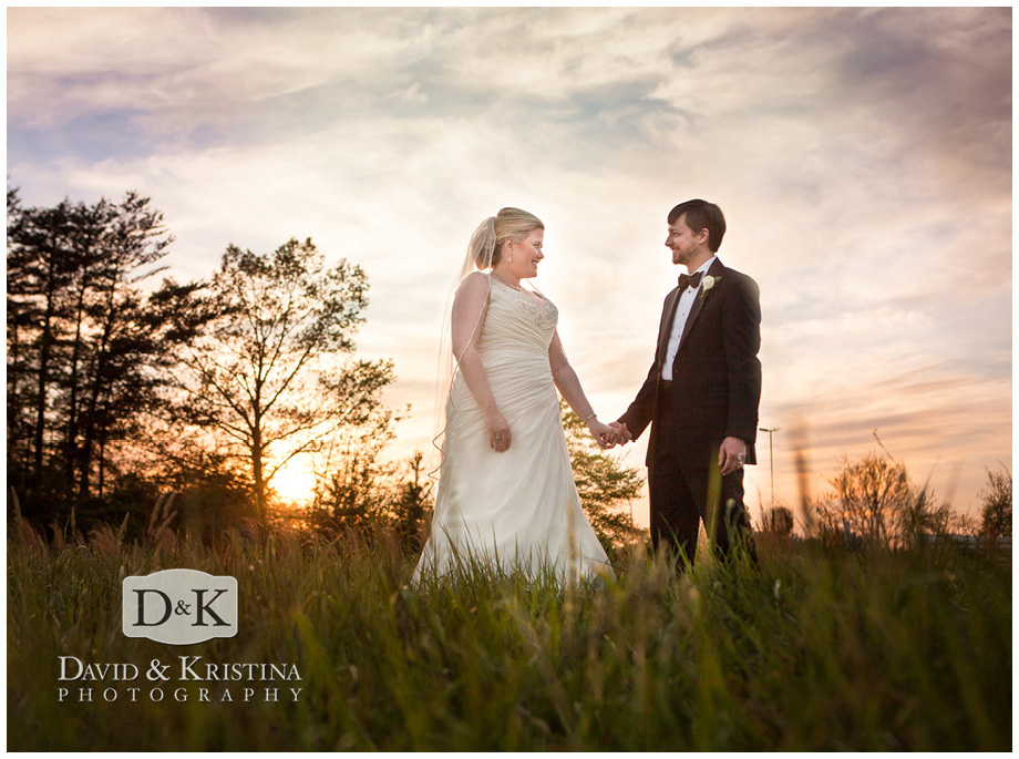 bride and groom at sunset at Twigs Tempietto