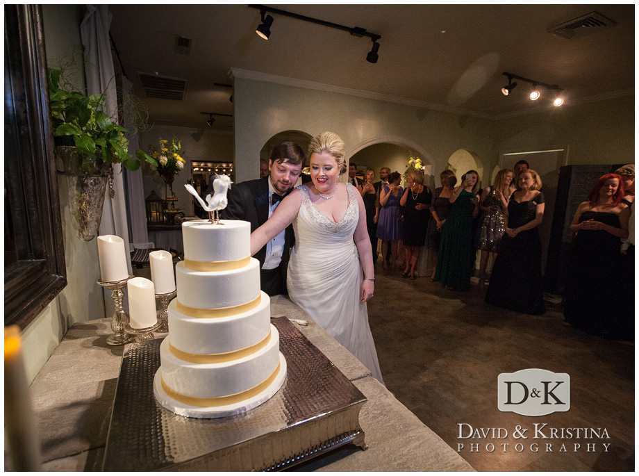 Bride and groom cut Couture Cake at Twigs