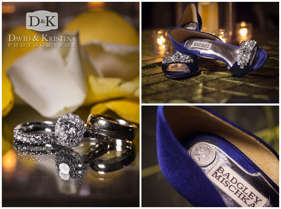 close up wedding rings and bride's shoes