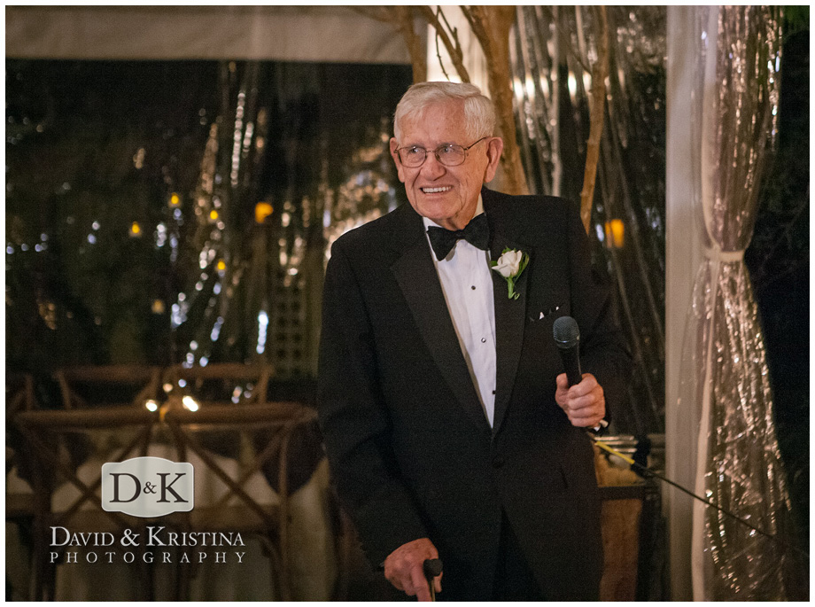Bride's grandfather gives toast