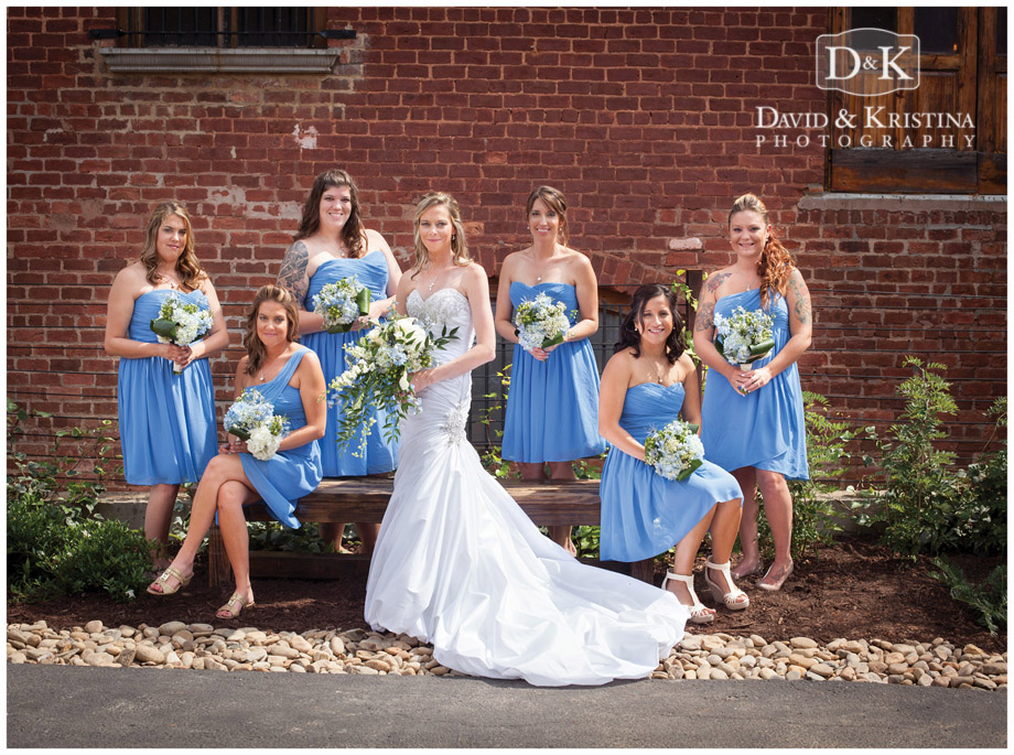 Bride and bridesmaids outside The Old Cigar Warehouse
