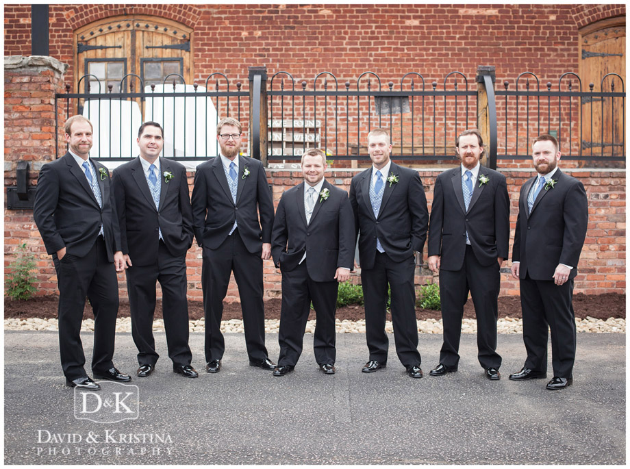 Groomsmen outside The Old Cigar Warehouse