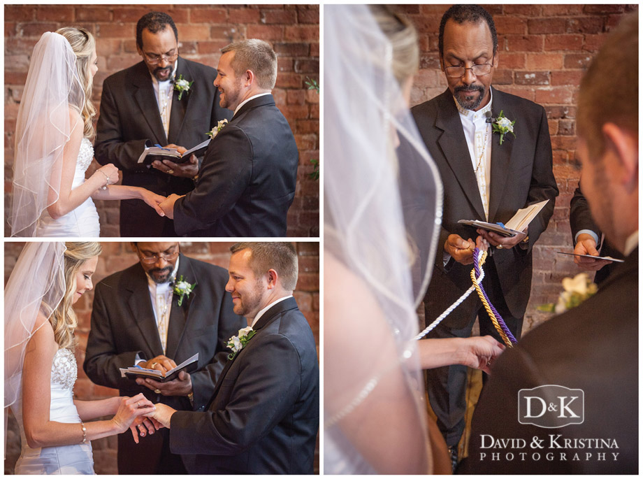 Bride and groom braid the cords.