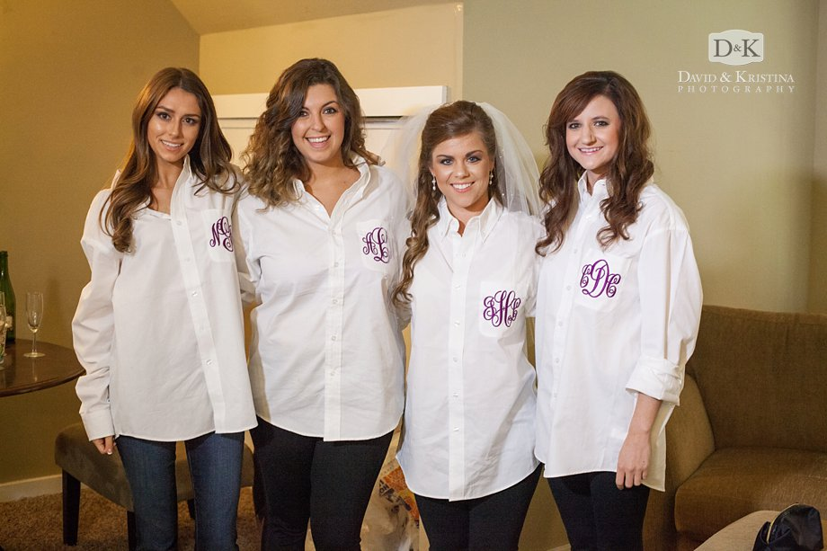 bridesmaids monogrammed white shirts