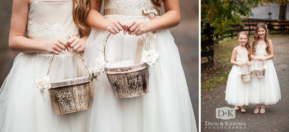 rustic flower girl buckets with handwritten here comes the bride