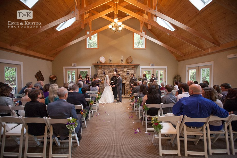 wedding ceremony in the lodge at The Fields at Blackberry Cove