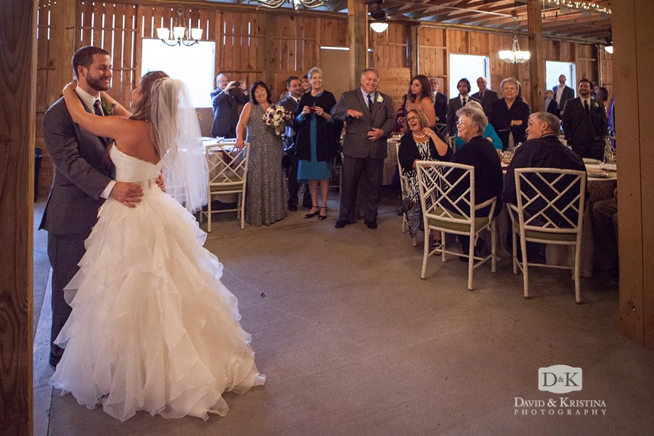 first dance in the barn wedding reception