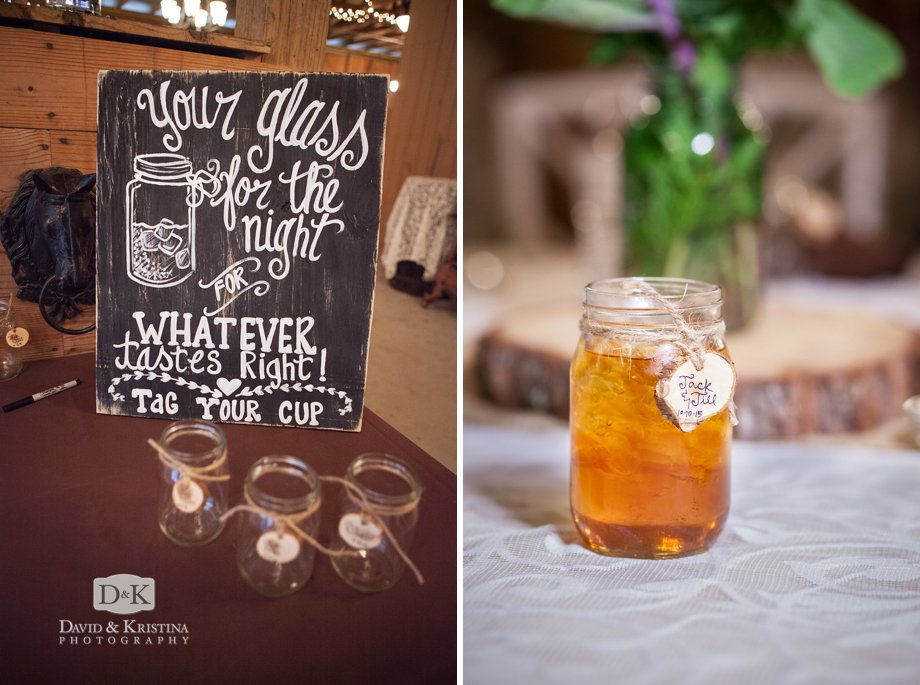 mason jars with wooden tags for a barn wedding