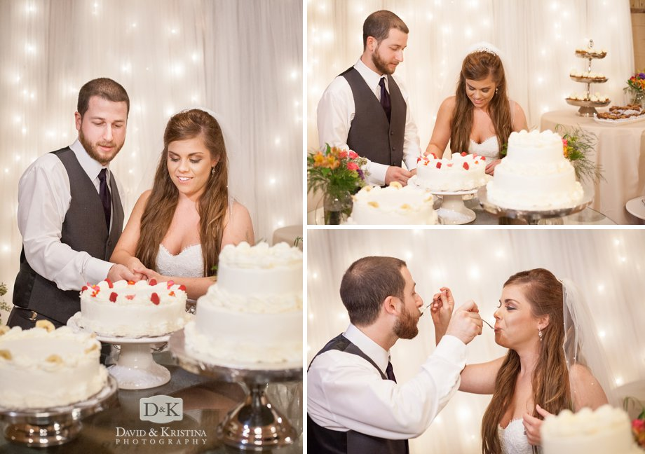 Jack and Jill cut their wedding cake