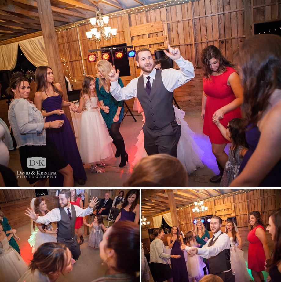 DJ Jerry Peeler kept the dance floor hoppin' at Jack and Jill's barn wedding reception