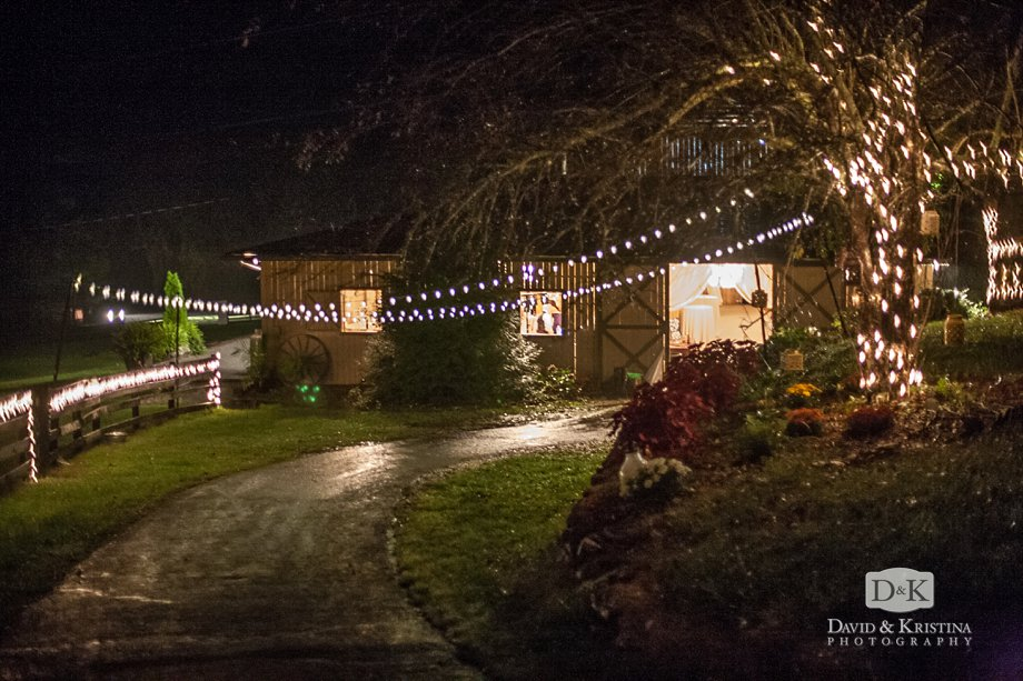 A rainy night at the barn at The Fields of Blackberry Cove