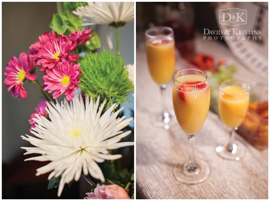 mimosas for bridesmaids on wedding day