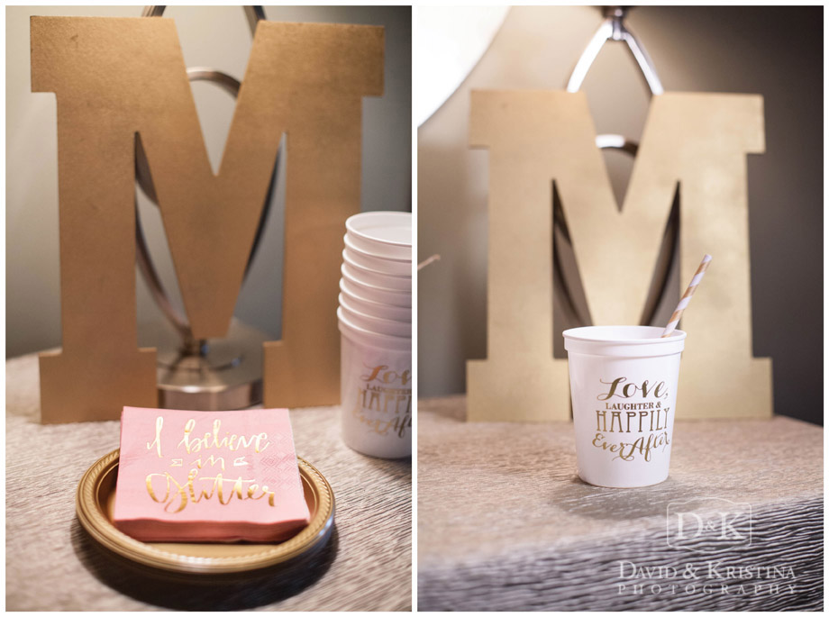 personalized cups and napkins for wedding day