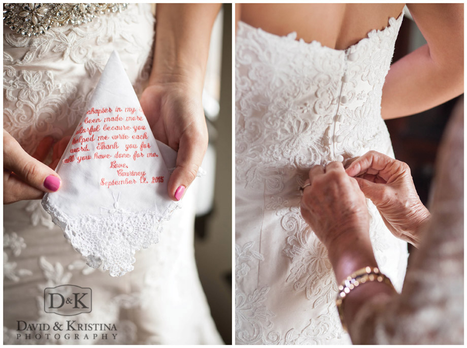 embroidered lace handkerchief with wedding dress