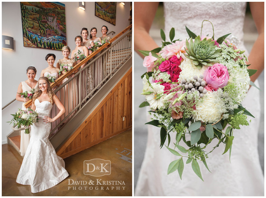 bride with bridesmaids on staircase with bouquet