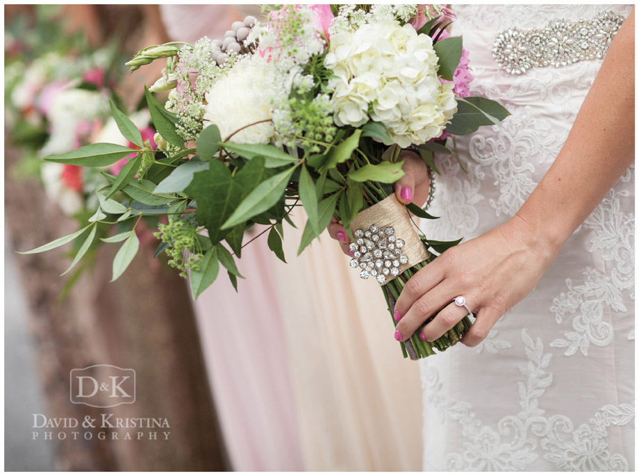 brooch on bridal bouquet