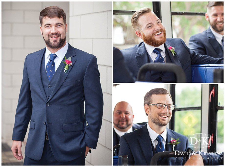groom portrait and guys on trolley