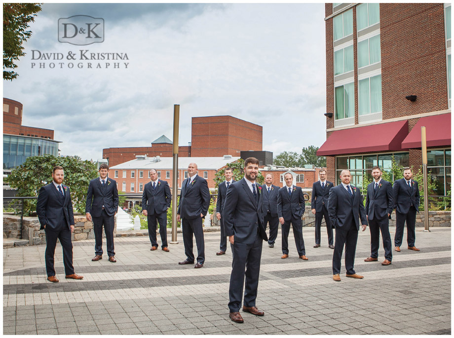 groomsmen in navy suits Hampton Inn Greenville SC
