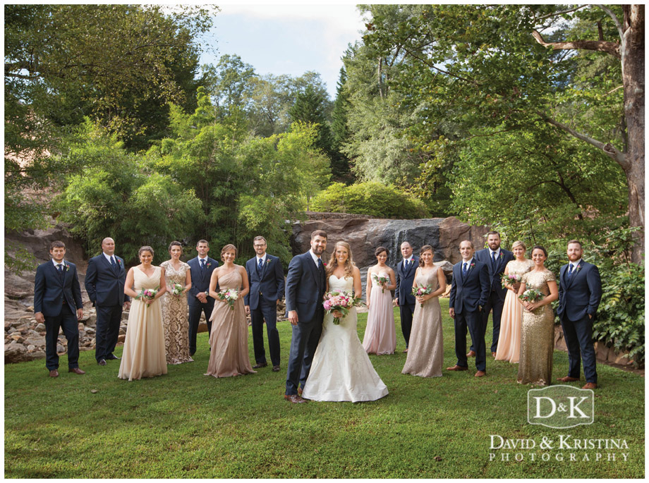 Wedding party photos at The Rock Quarry Garden Greenville