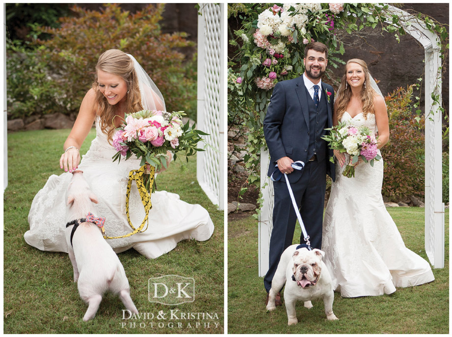 Bride with pig and with the bulldog ring bearer