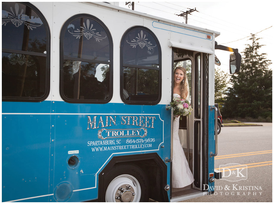 Bride on Main Street Trolley