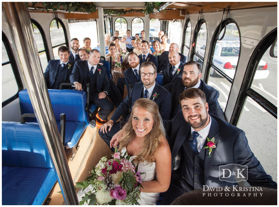 bridal party riding on Main Street Trolley