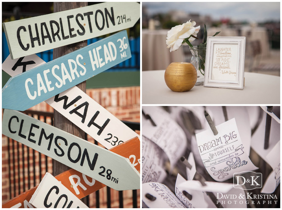 destination arrow signs at wedding
