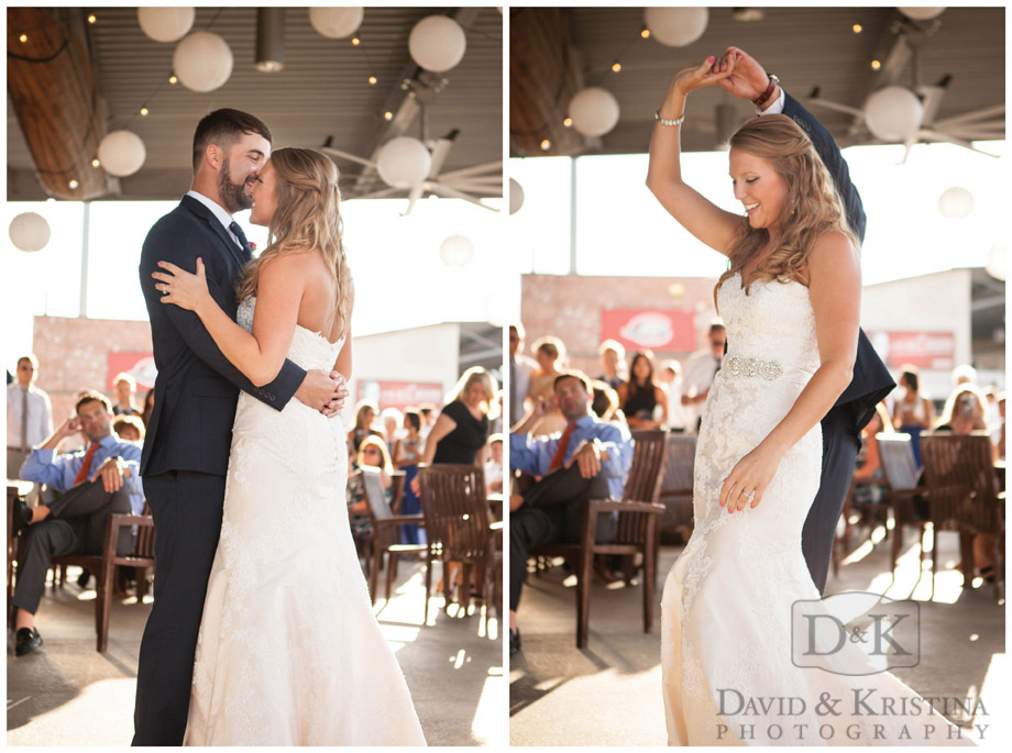 first dance at 500 Club Fluor Field wedding reception
