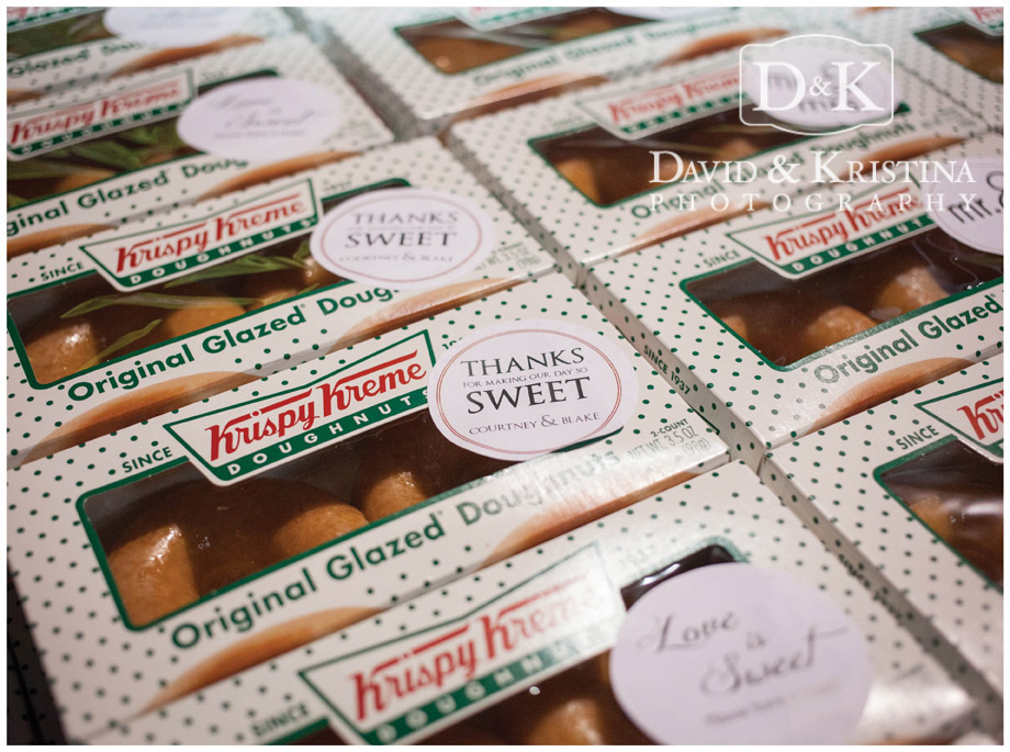 Krispy Kreme doughnuts as wedding favors