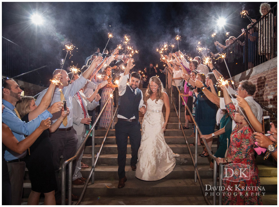 bride and groom exit through sparklers at Greenville Drive wedding